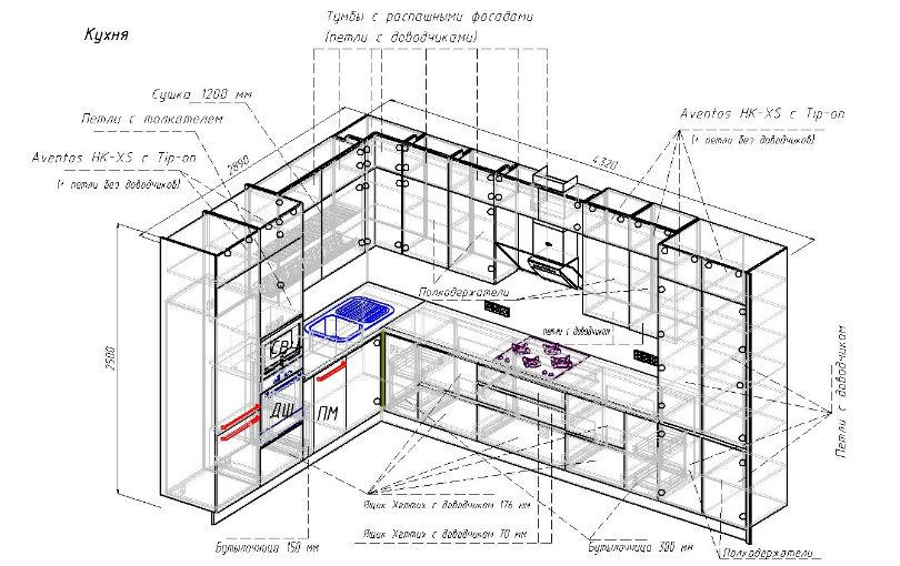 чертеж угловой кухни объеденной с гостинной