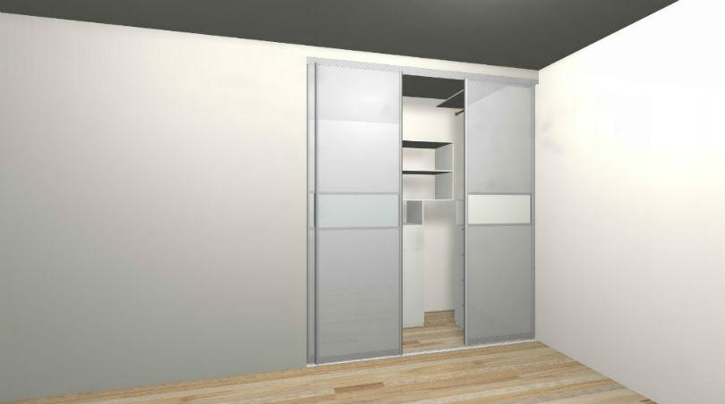 Гардеробная с дверьми Микэвол 3D проект