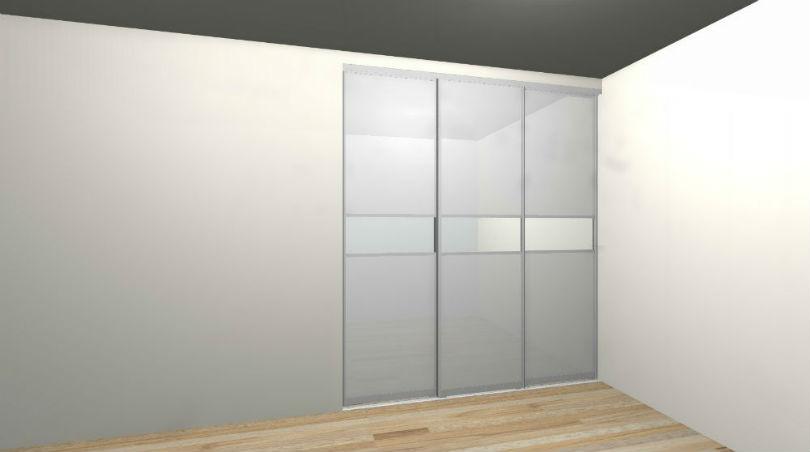 Гардеробная Микэвол с дверьми купе 3D проект