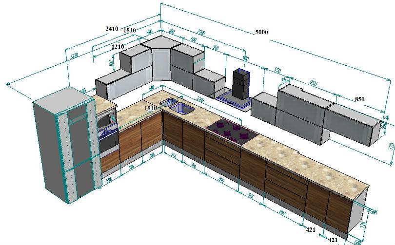Кухня с двойными фасадами - схема