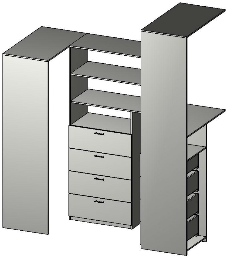 Схема внутреннего расположения полок и ящиков