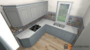 3D проект голубой кухни от Микэвол