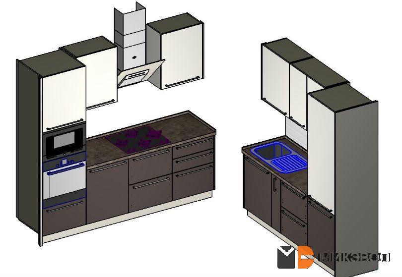 3D проект современной кухня