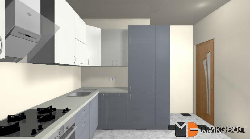Угловая кухня бело-серого цвета 3Д проект