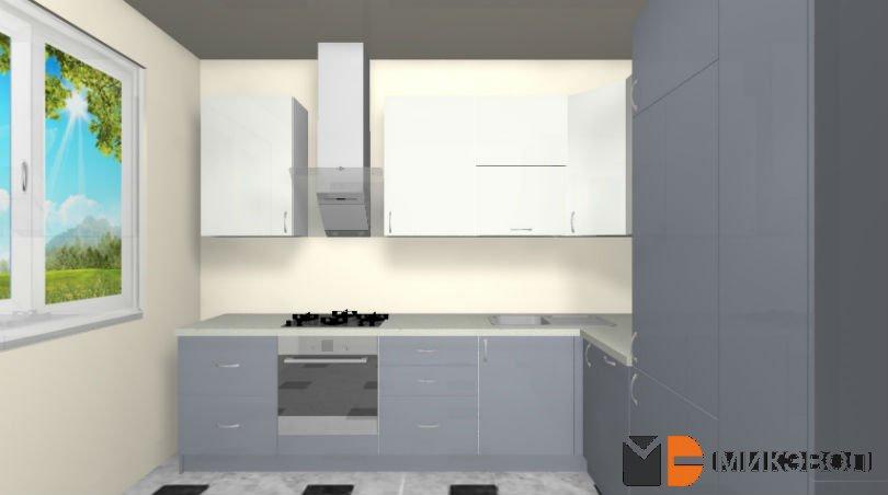 Вид с окном 3Д серо-белой кухни