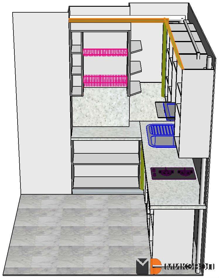 3Д проект зеленой угловой кухни