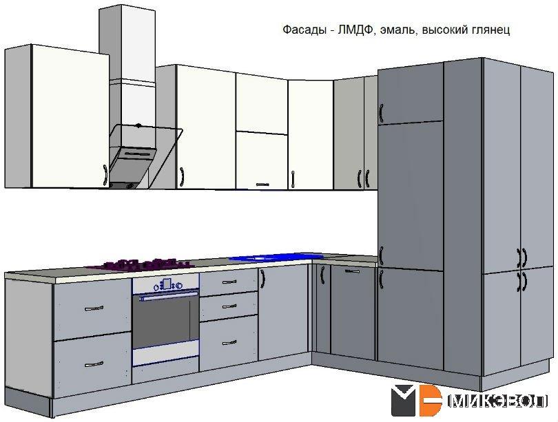 Схема, три вида фасадов кухни