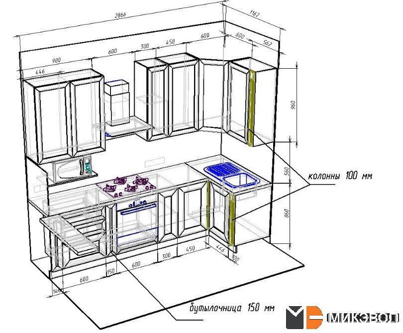 Схема угловой кухни с фасадами Фиренце