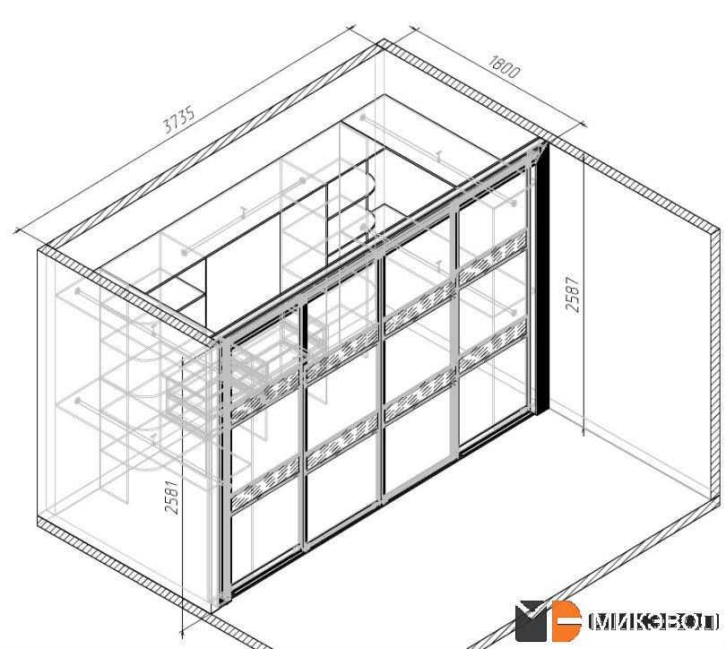 Схема: гардеробная комната
