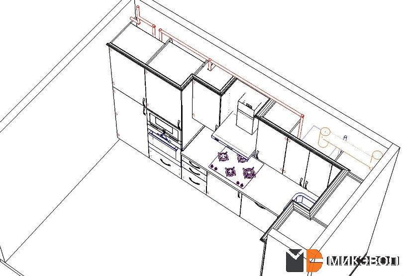 Схема кухни, вверху проходят газовые трубы